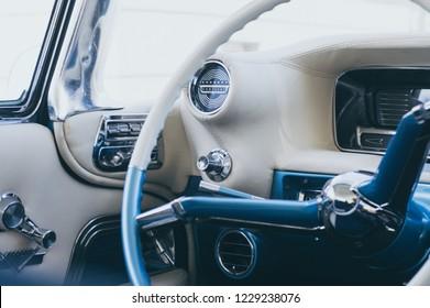 Liepaja, Kurzeme, Latvia 05.14.2017 Cadillac deville interior. Blue white interior. Refurbished vintage car.