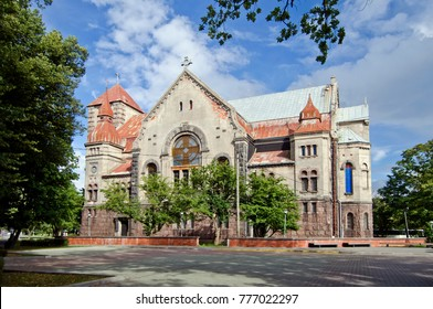 LIEPAJA, LATVIA - AUGUST 11, 2013: Evangelic lutheran church of Martin Luther in Liepaja, third largest town in Latvia
