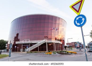 LIEPAJA, LATVIA - July 02, 2017: Concert hall Great Amber (LIELAIS DZINTARS), created by the Austrian architect Prof. Volker Giencke.