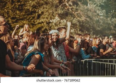 Liepaja, Latvia july 29, 2017 People smiling and enjoying summer festival