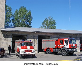 LIEPAJA, LATVIA - JUNE 6, 2016: Fire fighters and rescuers department trucks are based on fire station on Ganibu street.