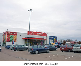 LIEPAJA, LATVIA - MARCH 2, 2016: Hypermarket RIMI is located on Brivibas street and has many shops and stores inside.