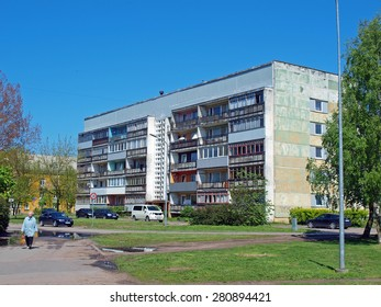 LIEPAJA, LATVIA - MAY 21, 2015: Vintage multi-storey apartment house is waiting for renovation.