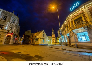 LIEPAJA, LATVIA - MAY 30, 2016: Historical centre of Liepaja town at night