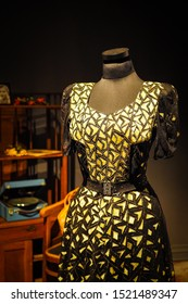 Liepaja/Latvia - September 27, 2019: Dress that belonged to Adolf Hitler's wife Eva Braun. From the collection of Alexandre Vassiliev