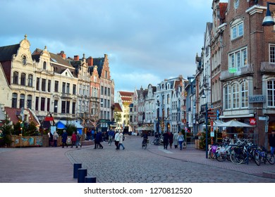 LIER, ANTWERP, BELGIUM - December 19, 2018 : Beautiful view of shops and restaurants in city center at raining day, this place is one of famous fashionable area in Lier, Antwerp, Belgium.