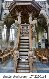 Lier, Belgium - July 11, 2018; The pulpit of St. Gummarus Church one of the first Baroque pulpits of the Netherlands