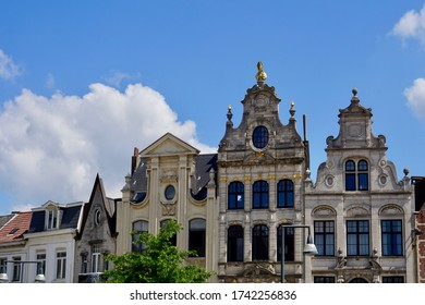 Lier, Belgium - July 11, 2018; The monumental gables on the Grote Markt