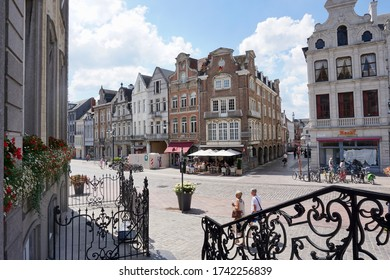 Lier, Belgium - July 11, 2018; View of the buildings around the Grote Markt from the stairs of the old town hall