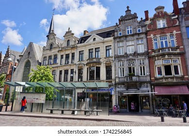 Lier, Belgium - July 11, 2018; Three quarters of the buildings on the Grote Markt were destroyed in WWI. Some buildings were rebuilt in their original form, others were built in different neo-styles