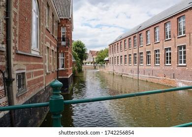 Lier, Belgium - July 11, 2018; The 'Binnennete' seen from the Aragon bridge.