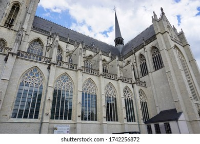 Lier, Belgium - July 11, 2018; The Sint-Gummaruskerk is a collegiate church in Brabant High Gothic, Baroque and Rococo architectural style.