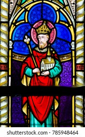 LIER, BELGIUM - MAY 16, 2015: Stained Glass in St Gummarus Church in Lier, Belgium, depicting Henry II (973 - 1024), also known as Saint Henry, Holy Roman Emperor from 1014 until 1024 .