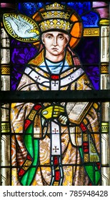 LIER, BELGIUM - MAY 16, 2016: Stained Glass window in St Gummarus Church in Lier, Belgium, depicting Pope Saint Gregory I or Saint Gregory the Great