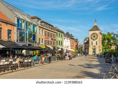 LIER,BELGIUM - MAY 17,2018 - Zimmer Clock tower in the streets of Lier. Lier is a municipality located in the Belgian province of Antwerp.