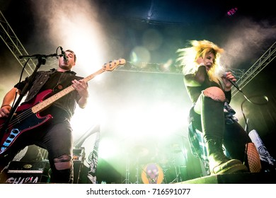 Lierop, the Netherlands - August 18, 2017: Caroline Westendorp of Dutch metalcore band The Charm The Fury performs live on stage at Nirwana Tuinfeest music festival.