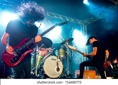 Lierop, the Netherlands - August 18, 2017: Paul Dokman en Jesper Albers of Dutch alternative rock band The Paceshifters perform live on stage at Nirwana Tuinfeest music festival.