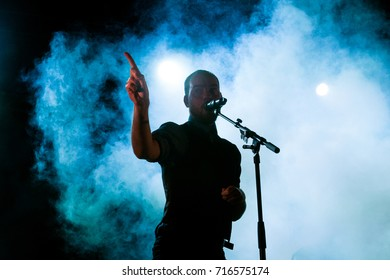 Lierop, the Netherlands - august 18,2017: Torre Florim of Dutch rock band De Staat performs live on stage at Nirwana Tuinfeest music festival.
