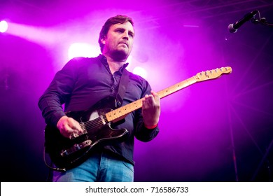 Lierop, the Netherlands - August 19, 2017: singer James Walsh of british rock band Starsailor performs live on stage at Nirwana Tuinfeest music festival.