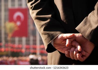 Lieutenant colonel holding hands