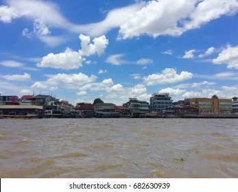 Life along Chaopraya river, heart of Bangkok, Thailand.