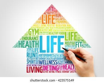 LIFE arrrow word cloud, health concept