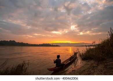Life of asian fisherman at morning in Chiang khong, Chiang Rai, Thailand.