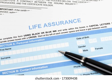 Life assurance application form with pen concept for life planning