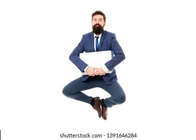 Life balance concept. Inspiring innovations. Businessman inspired guy feel peaceful. Man peaceful hold laptop jump. Follow your dream. Keep moving. Inspired for start up. Always in peaceful mood.