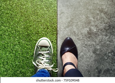 Life Balance concept for Work and Travel present in Top view position by half of Business Working Woman and Sneaker Shoes