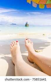 Life Is A Beach With A Person Resting Feet Up On Sand In A Tropical Island Paradise Lifestyle Escape, Relaxing Asian Beach Holiday Captured In Thailand