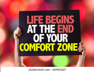 Life Begins at the End of Your Comfort Zone card with bokeh background