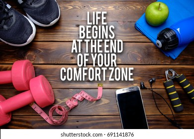 Life begins at the end of your comfort zone. Fitness motivational quotes.