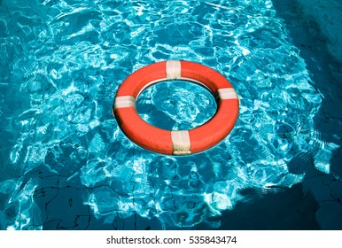 Life belt floating on the water