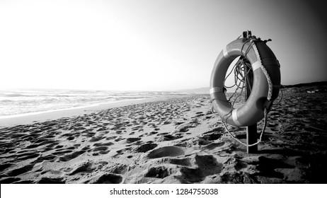 life belt with on beach