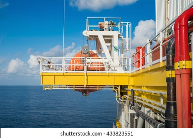 Life boat, survival craft or rescue boat at oil and gas platform at muster station for emergency situation when in fire case or abandon case to escape from risk.