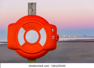 life buoy case on a pole, safety equipment at the belgian coast
