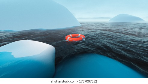 Life buoy near iceberg in arctic sea. Antarctica expedition. Glacier in water. Global warming. Arctic exploration. Antarctica explorer. Climate change winter. South pole expedition.