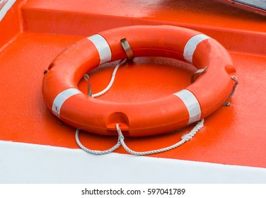 LIFE BUOY ON BOAT FOR RESCUE IN CASE OF SEA ACCIDENT