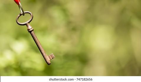 Life coaching concept - hanging success key