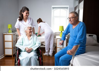 Life of elderly people at nursing home, care of the old people