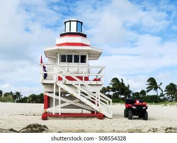 Life guard post on the beach in Miami Beach, Florida, USA