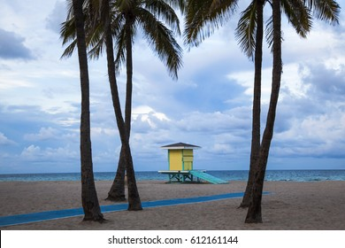 Life guard shack at Hollywood beach Florida.