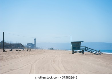 Life Guard Tower at the Dockweiler Beach in California