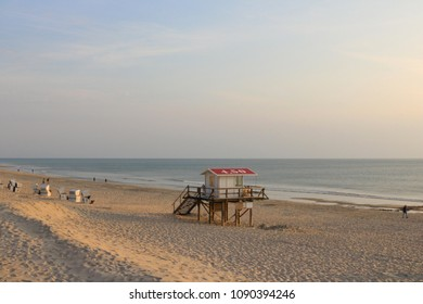 life guard tower on the beautiful beach of Westerland on a sunny evening in summer