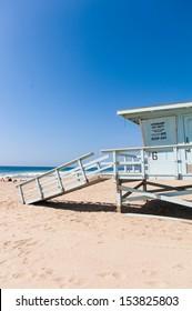 Life Guard Tower under the blue sky in Malibu beach