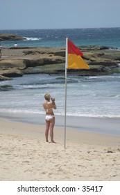 Life guard watching the beach