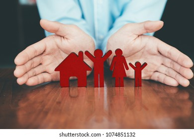 Life and house and health insurance policy concept idea. Finance and insurance.
