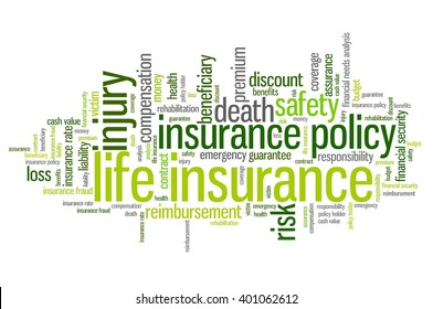 Life insurance concepts word cloud illustration. Word collage concept.