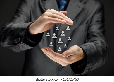 Life insurance, customer care, care for employees, labor union and marketing segmentation concepts. Protecting gesture of businessman, manager or personnel and icons representing group of people.